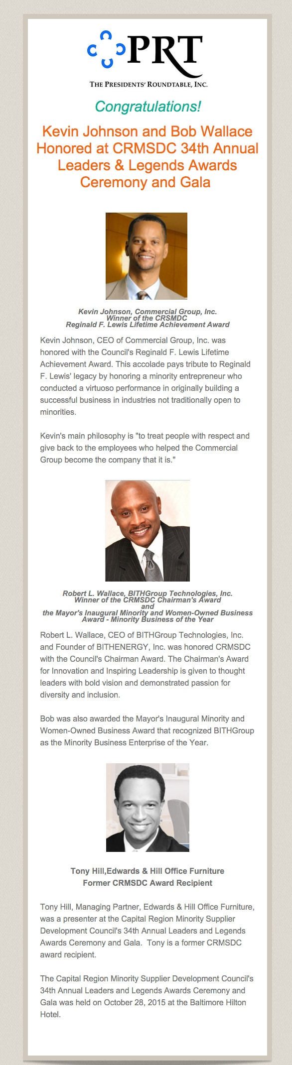Kevin Johnson and Bob Wallace Honored at CRMSDC 34th Annual Leaders & Legends Awards Ceremony and Gala